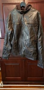 Mens Leather jacket with detachable hood